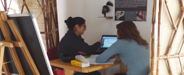 a student taking an individual Spanish class in Quito - specially tailored courses